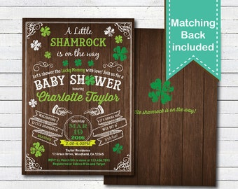 St Patricks day baby shower invitation. Little Shamroch coed Irish baby shower. Rustic wood digital printable invitation. STPB02