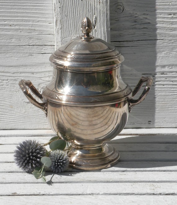 Vintage silver plated pot, chateau chic, silver plated sugar bowl, vintage sugar bowl, vintage plated pot, small vintage pot, country home