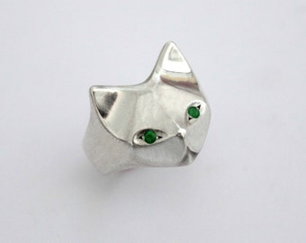 Cat Sterling Silver Ring, Egyptian Cat, Geometric Cat Ring , Cat jewelry, cat ring, animal ring