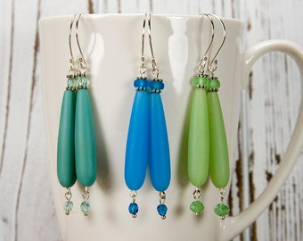Long dangle earrings, recycled glass, Capri blue, Peridot green, sea foam green, long earrings, teardrop, sea glass earrings, 3 inch