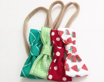 Strawberry MINI Girls Hair Bows - Set of Four (4) // Hair Bows - Includes All 4 Pictured. Newborn & Toddler Bows