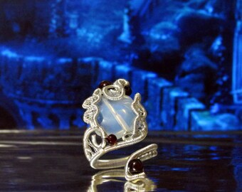 Magic Mirror, spiral ring, statement ring, The Seer ring, elven ring, Elven magic, Elven Wedding, wire ring, adjustable ring, elvish jewelry