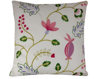 """Embroidered Floral Pillow Cover, 16x16/18x18"""" Flower Pillow, White Cushion Cover, 40x40/45x45cm Botanical Cushion, Spring/Summer Home Decor"""