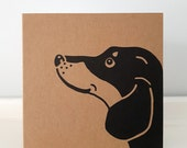 "Sausage Dog Greeting Card: Kraft Card with Dachshund Print. Choose Message Inside (12 cm x 12 cm / 4.7"" x 4.7"")"