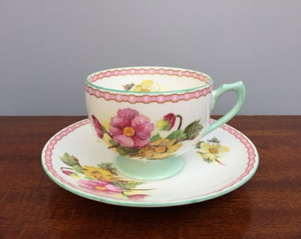 Shelley Begonia Tea Cup and Saucer, Shelley China, Gift for Her, Shelley Tea Cup, Tea for One, English Bone China, Shelley Teacup