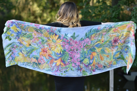 Garden Flower Fairy Wing Scarf Hand Painted and Digitally