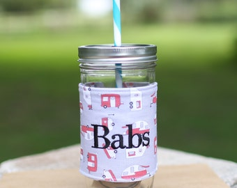 Personalized RV Campers Mason Jar Tumbler, RV Campers Personalized Tumbler, Mason Jar RV Campers Tumbler, Glamping Tumbler