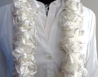 White Ruffle Scarf, Champagne Sashay Scarf, Boa Knitted Lacy Scarf,  Sequinned