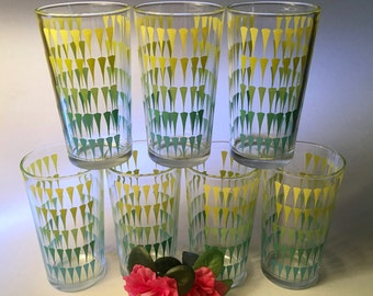 Set of seven amazing vintage glass tumblers