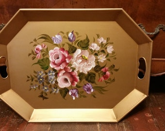 Nashco Tole Hand Painted Serving Tray with Handles - Flower Bouquet - Floral Pattern - Metal Serving Tray - Country Living - Decor