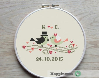 Modern Wedding cross stitch pattern, wedding birds, customizable, PDF, DIY ** instant download**