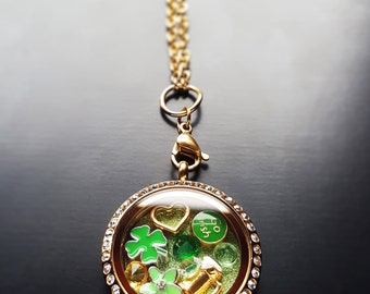 St. Patrick's Day Floating Locket Necklace Set-11 Piece Set-Gift Ideas for Women