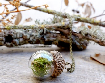 Acorn necklace, terrarium necklace, gift for woman, moss terrarium,botanical jewelry,woodland necklace,glass pendant,vial necklace,real moss
