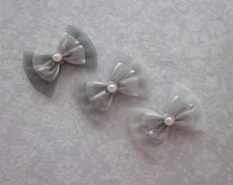 Silver Gray Sheer Layered Satin Organza Shimmer Tulle Bows, Pearl Rhinestone Gold, Wedding Hair Accessory, Flower Girl, School Uniform