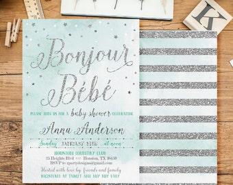 Bonjour Bebe Invitations, Baby Boy Shower Invitations, Glitter Baby Shower Invitation, French baby shower Invitation, silver glitter, GO