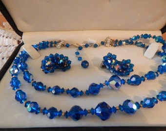 Dark Blue Crystal Iridescent Double Strand Choker Necklace and Clip on Earring Set