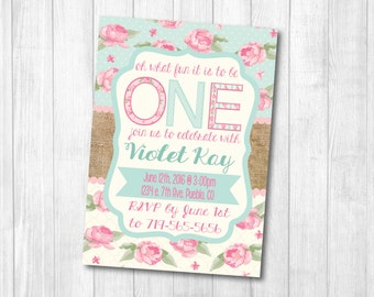 Girl's Shabby Chic First Birthday Printable Invitation Pink and Teal girl / 1st birthday pdf or jpeg 4x6 or 5x7