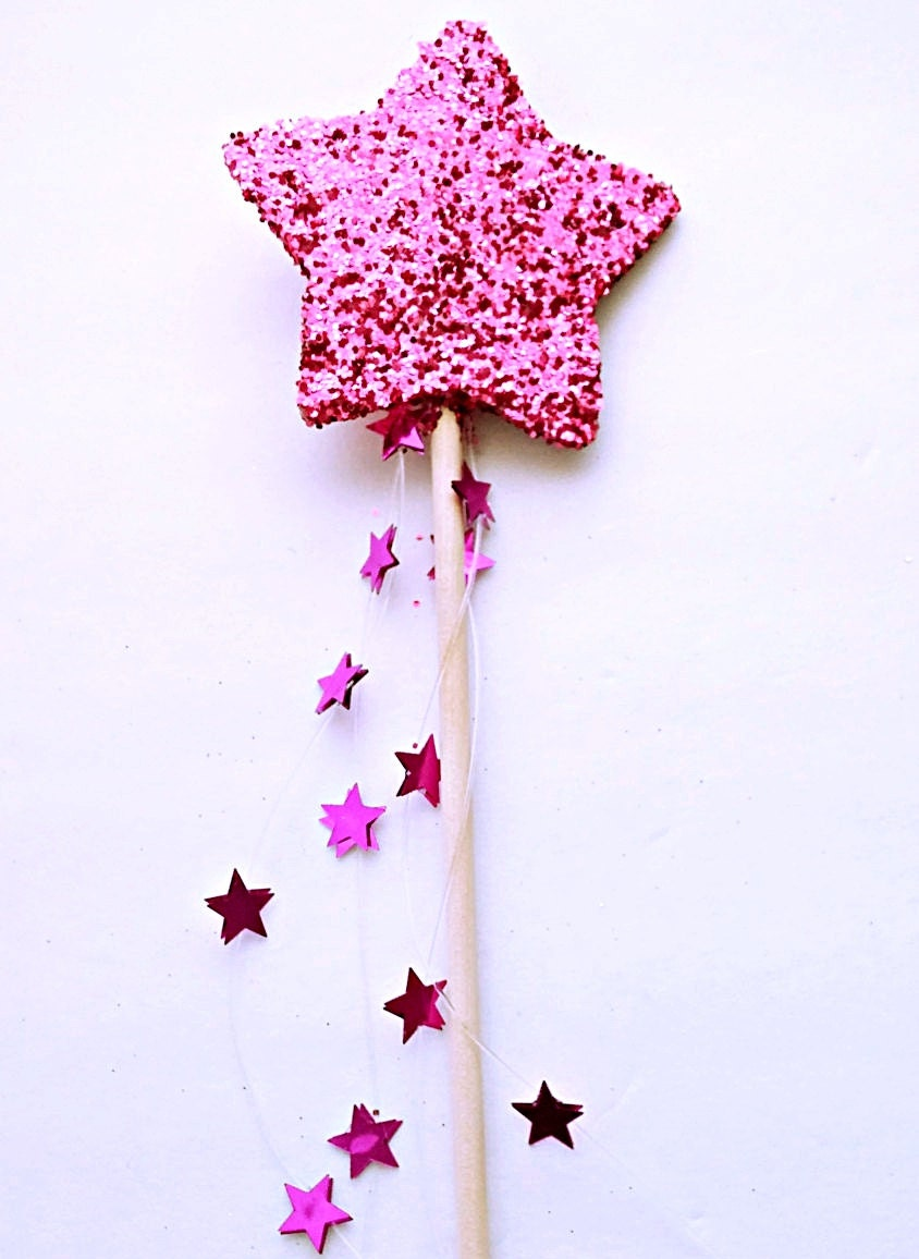 pink glitter star fairy wand princess party favors dress up. Black Bedroom Furniture Sets. Home Design Ideas