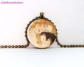 The Three Ages of Woman, Gustav Klimt, 1 in. 25.4 mm necklace or keychain