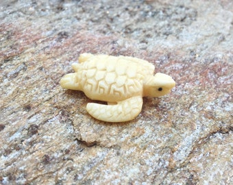 Carved Bone Sea Turtle Bead - 1 1/4 Inch - 30 mm