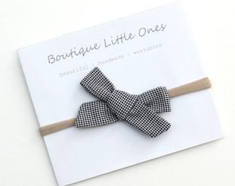 Black and White Checkered Fabric Hair Bow Baby Headband Monochrome Baby Headband Plaid Hair Bow Girl Headband