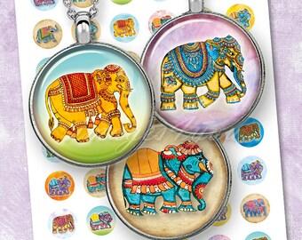 "Elephants 1 inch circles Digital Collage Sheet cabochon download printable round boho 1"" bottle cap images for pendants 30mm 25mm 1.25"" 1.5"""