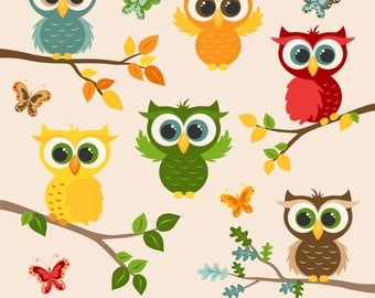 80% OFF SALE Owl Clipart, Digital Owls, Autumn, Fall, Owl Graphics, Printable, Commercial Use