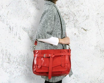 KAY Red Leather Satchel : Leather Satchel bag / Tablet Bag / Leather Shoulder Bag / Red Satchel / Leather Bag / Red Bag