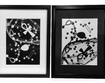 "Who You Are - Black and White Photogram Diptych Framed 12""x15"""