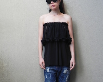 SALE, Off The Shoulder Top, Summer Top,Black, Four Way Top, Womens Top, Beach Top, One Size, Boho Top, Tube Top