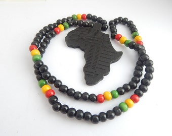 Africa map necklace etsy black africa necklace mens wood beaded necklace african jewelry africa shape africa pendant afrocentric jewelry africa aloadofball Image collections