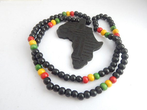 africa map wooden necklace