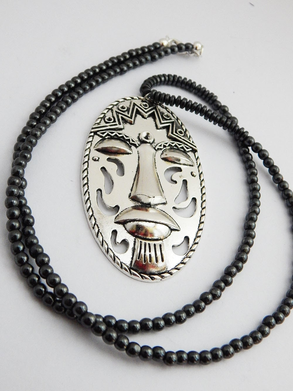 Tribal Mask Necklace Antique Silver Large African Mask Jewelry