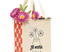 Personalized Tote Bag - Monogrammed Gift - Bridal Party Gifts - Custom Tote Bags - Market Tote - Shopping Bag - Dandelion Tote Bag