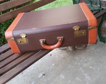 Vintage 1930's - 40's Dark Brown W/Carmel Color Leather Trim  Suitcase / Luggage