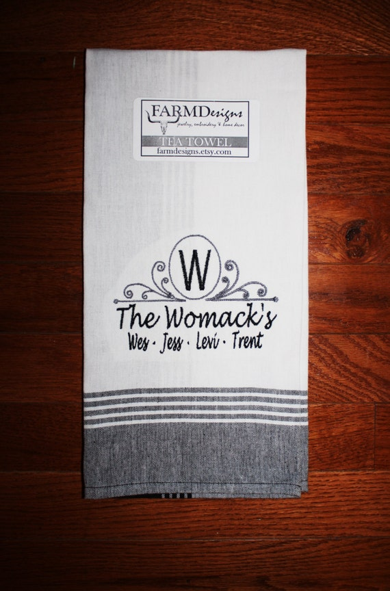 personalized kitchen towel~ wedding gift towel~ monogram wedding gift ...