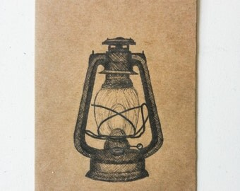 Vintage Lantern on a Postcard