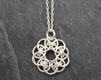 Petite Helm Flower Chain Maille Necklace - Argentium Sterling Silver