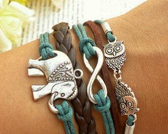 Elephant Bracelet, Charm Bracelet, Charm Bangle, Infinity Bracelet, Charm Braclet, Gift For Women, Girlfriend CH-159