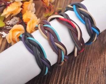 Friendship Bracelet, Leather Bracelet, Friendship Bracelet Set, Leather and Hemp Adjustable Bracelets, Friendship Gift JLA-60