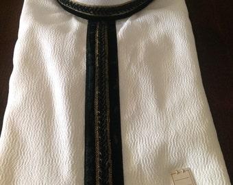 Deadstock Men's Banded Collar Shirt, NOS After Six Collarless White Tux Shirt, Black & Gold Trim
