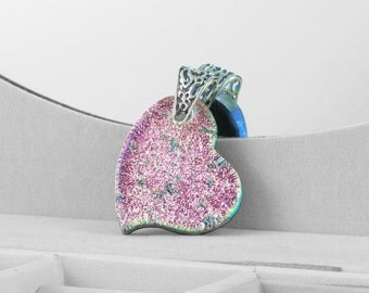 Fused Glass Pendant - Shimmering Pink Heart - Dichroic Glass Heart - Heart Pendant - Pendant - Fused Glass Jewelry JBT261