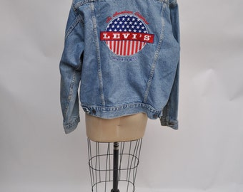 vintage levis jacket denim levi's jacketRARE  boyfriend 1980s light denim 80s SMALL