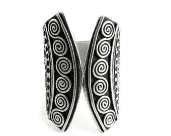 Tribal Ethnic Boho Statement Sterling Silver Cuff Ring, Handmade Black Silver Open front Wide Silver Wide Band Ring, Also as Thumb ring