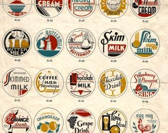 Vintage retro Art Deco milk caps collage clip art digital download printable instant image Smith-Lee Co.
