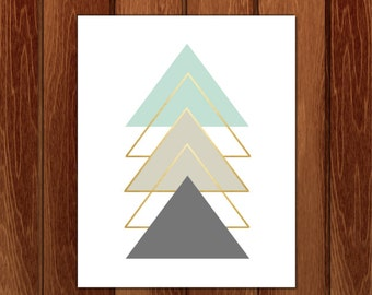 Geometric triangle shapes, Printable nursery art, Instant Download