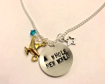 "Aladdin Jasmine Genie Inspired Hand-Stamped Necklace - ""A Whole New World"""