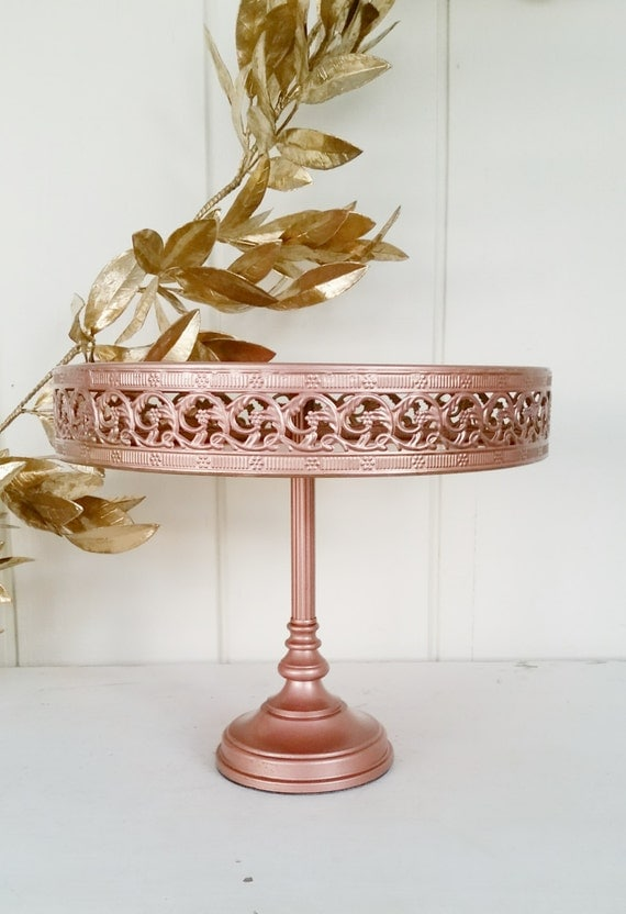 12 inch cake stand copper rose gold metallic metal filigree. Black Bedroom Furniture Sets. Home Design Ideas