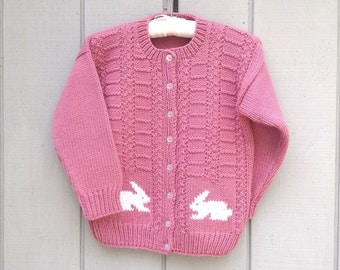 6 to 7 years - Knit bunny cardigan - Bunny motif sweater - Girls bunny pullover - Girls clothing