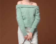 Mohair Off Shoulder Cashmere Spring Sweater Pale Moss Green Fuzzy Fur Sweater Vintage Style 50s Woman Cashmere Pullover Fair Lady Outerwear